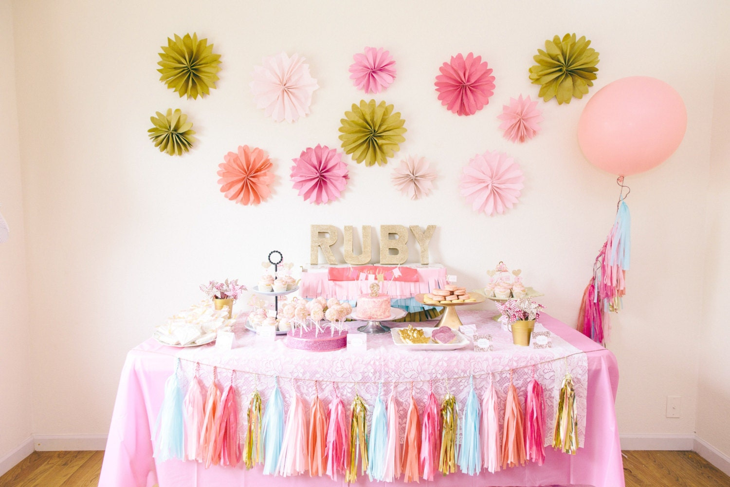 1st birthday party decoration package tassel garland for Baby birthday party decoration
