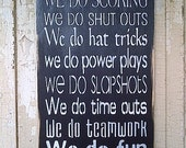 In This Home .... We do Hockey completely painted wooden sign in 3 colors by Dressingroom5