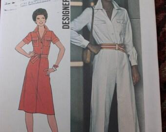 Vintage Simplicity Pattern 7837 Designer Fashion Misses Jumpsuit and Dress Size 14 Dated 1976 Uncut