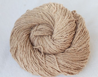 Pure Silk Yarn,Matte,Khaki.Beige,Light Brown, Fingering Weight, Upcycled, 205 yards