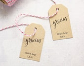 Wedding Favor Tag, Gracias, Thank You in Spanish, Bridal Shower Tag, Party Favor Tag, Gift Tag, Quinceanera - Set of 25 (SMGT-CAN)