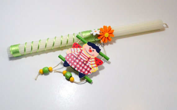 Ladyybug Lampada // Greek Easter Candle // Easter Lampada.