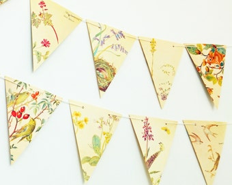 Nature Bunting, Paper Garland, Paper Bunting, Recycled Pennants. Banner. Up-cycled Bunting