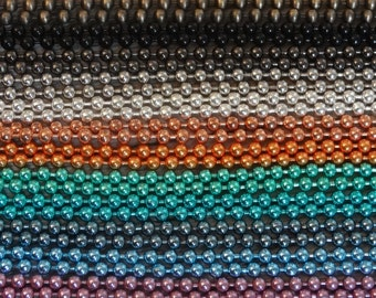 """5 Finished Ball Chains with Closures - 18"""" 1.8mm - You Choose Color Gold Antique Silver Black Gunmetal Pink Purple Orange Green Teal Blue"""