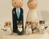 Cake Cuties- Custom Wedding Cake Toppers LARGE SIZE Plus 4 Animal Friends