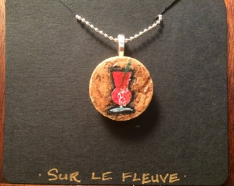 Hand Painted New Orleans Hurricane Cork Pendant Necklace