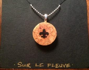 Fleur de Lis Cork Pendant Necklace