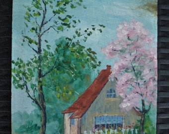 Painting of Cottage & Trees. Small, Sweet. Signed E. Mayer. Vintage 1940s. Original Art. Cottage Farmhouse Decor.