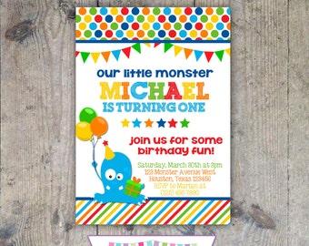 LITTLE MONSTER 5x7 Birthday Party Invitation Boy - PRINTABLE