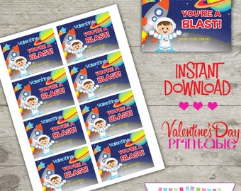 Valentine Space - Printable Valentine's Day Cards - INSTANT DOWNLOAD