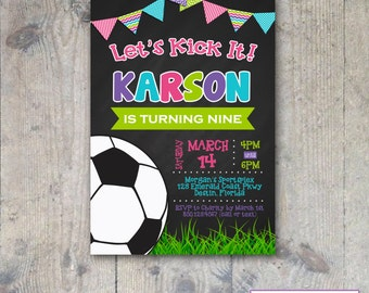 CHALKBOARD SOCCER 5x7 Girl Birthday Party Invitation - PRINTABLE