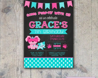 CHALKBOARD PUPPY & KITTY 5x7 Birthday Party Invitation - Printable
