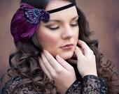 Plum Great Gatsby Party Headband, Plum Purple 1920s headpiece, Feather Hairpiece, Black Purple Beaded Headband