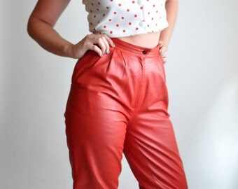 Red Leather High-Waisted Pants