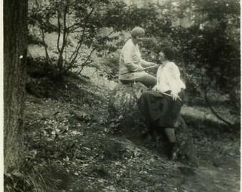 """Vintage Photo """"Woodland Chat"""" Snapshot Photo Antique Photo Old Black & White Photography Found Photo Paper Ephemera Vernacular - 52"""