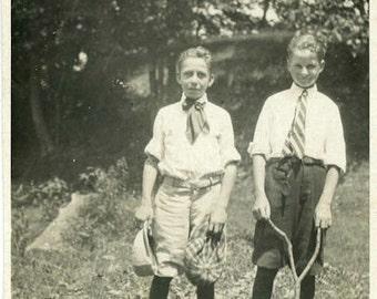 "Vintage Photo ""The Wishbone Children"" Young Boys Snapshot Photo Old Antique Photo Black & White Photograph Found Photo Paper Ephemera - 31"