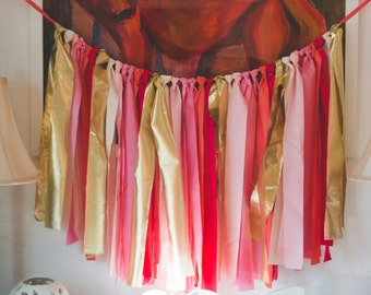 Pink and Gold Fabric Garland- Long