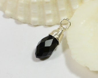 Black Charm Teardrop wire wrapped on sterling silver Birthstone Charm Personalized Pendant