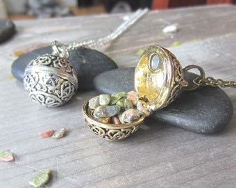 Mystical jewelry etsy mystical jewelry wishing necklace locket unakite witchy witchcraft occult jewelry prayer box secret compartment wiccan pagan aloadofball Image collections