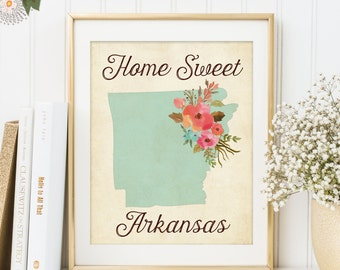Home Sweet Arkansas Print - Rustic Aqua Watercolor Flowers Home is Where the Heart Is - Home Sweet Home Decor - INSTANT DOWNLOAD - 302