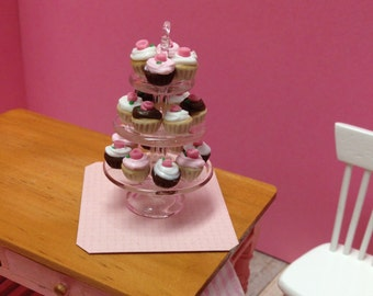 Miniature Triple Cupcake Tier - 1:12 Scale