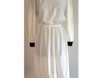 80's Black and Cream Long Sleeved Dress