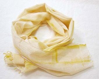 Shibori Scarf, Yellow Scarf, Yellow Cotton Scarf, Hand Painted Scarf, Cotton Shibori Scarf, Hand Dyed Scarf, Yellow Shibori Scarf, Boho Chic
