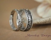 Wide and Narrow Flower and Leaf Rings - Wedding Band Set in Sterling Silver - Matching Pattern Bands - Commitment Ring Set - Promise Rings