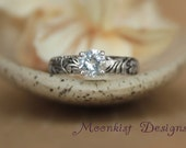 Flower and Leaf White Sapphire Engagement Ring in Sterling Silver - Floral Promise Ring with Diamond Alternative - Pattern Ring