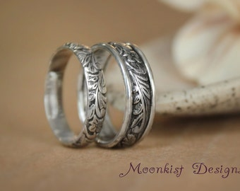 Wide and Narrow Flower and Leaf Wedding Band Set in Sterling - Silver Matching Pattern Bands - Anniversary Bridal Promise Ring Set