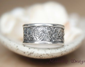 Wide Reticulated Silver Unique Pattern Wedding Band - Handmade Rustic Wedding Band - Unisex Contemporary Wedding Ring - Artisan Bridal Band