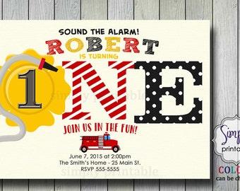 Firetruck Birthday Invite,1st birthday, 2nd birthday.