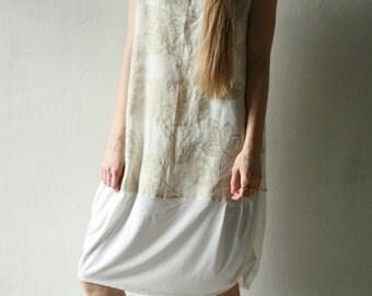 Paisley print linen and cotton dress