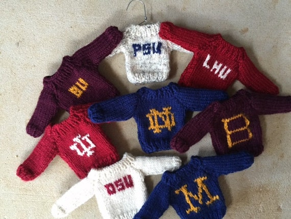 Mini Hand Knit Christmas College Sweater Decoration/Ornament