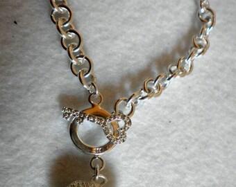 Open Heart Sterling Swarovski Bracelet