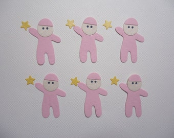 Baby Girl Die Cuts with Stars Embellishments New Born Babies Girls Daughter Scrapbooking