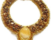 Bead Embroidered Collar , Yellow Jasper, Picasso Jasper Nuggets
