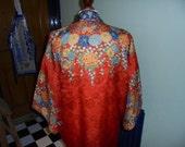 1930s 1920s Printed Silk Floral Kimono Robe Flapper Boho Art Deco Red Blue Orange