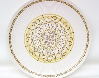 Vintage Serving Platter / Large Round Ironstone Tray / MCM Ceramic Cake Plate Geometric Pattern in Yellow Brown