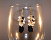 Blue Goldstone and Pearl Cluster Earrings - Gold