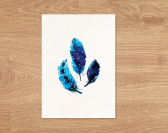 3 Feathers Art Print, watercolor feather art, 3 Blue feathers