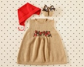 Knit baby dress, cap and shoes. Camel and red. Felt flowers. Merino wool. READY to SHIP size 3-6 months