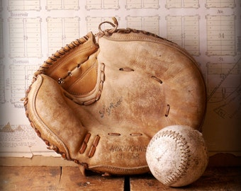 Vintage Leather Baseball Mitt - Hurricane CD-558 with the Sure Stop Pocket - Great Guy Gift!