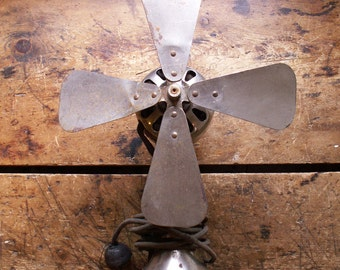 Vintage Four Blade Silver Desk Fan with No Safety Cage