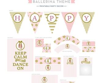 Pink & Gold Ballerina Theme - Printable Decor