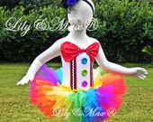 Clown Tutu Dress and Hat, clown costume,party tutu,  birthday dress, party favors tutu, circus birthday, clown outfit, circus outfit, tutu