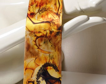 Golden Dragons necktie. Daenerys Targaryen tie. Smaug dragon tie. Mother of Dragons tie. Fantasy tie. Movie tie by TieStory.