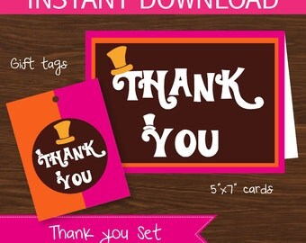 Willy Wonka thank you DIY Printable Kit - INSTANT DOWNLOAD