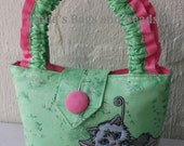 Little Girls Bag made from a Pretty Lime Green Fabric with a Cute Kitty Embroidery Design