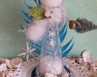 Vintage Bottle- Mermaid Snowman
